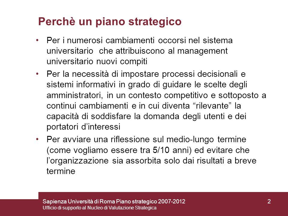 Sapienza Università di Roma Piano strategico 2007-2012 Ufficio di supporto al Nucleo di Valutazione Strategica 2 Perchè un piano strategico Per i nume