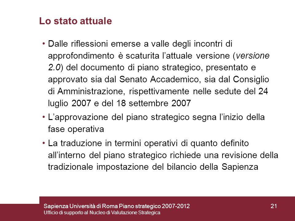 Sapienza Università di Roma Piano strategico 2007-2012 Ufficio di supporto al Nucleo di Valutazione Strategica 21 Lo stato attuale Dalle riflessioni e