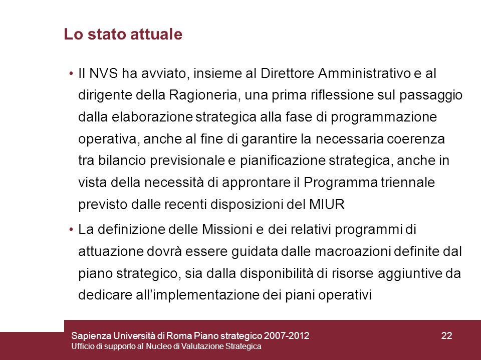 Sapienza Università di Roma Piano strategico 2007-2012 Ufficio di supporto al Nucleo di Valutazione Strategica 22 Lo stato attuale Il NVS ha avviato,