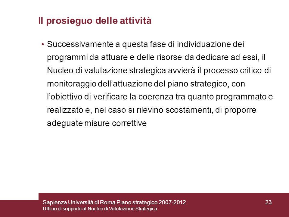 Sapienza Università di Roma Piano strategico 2007-2012 Ufficio di supporto al Nucleo di Valutazione Strategica 23 Il prosieguo delle attività Successi