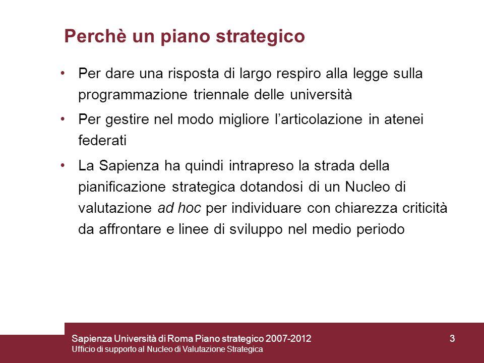 Sapienza Università di Roma Piano strategico 2007-2012 Ufficio di supporto al Nucleo di Valutazione Strategica 3 Perchè un piano strategico Per dare u