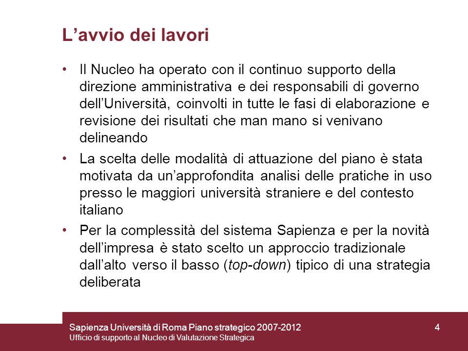 Sapienza Università di Roma Piano strategico 2007-2012 Ufficio di supporto al Nucleo di Valutazione Strategica 4 Lavvio dei lavori Il Nucleo ha operat