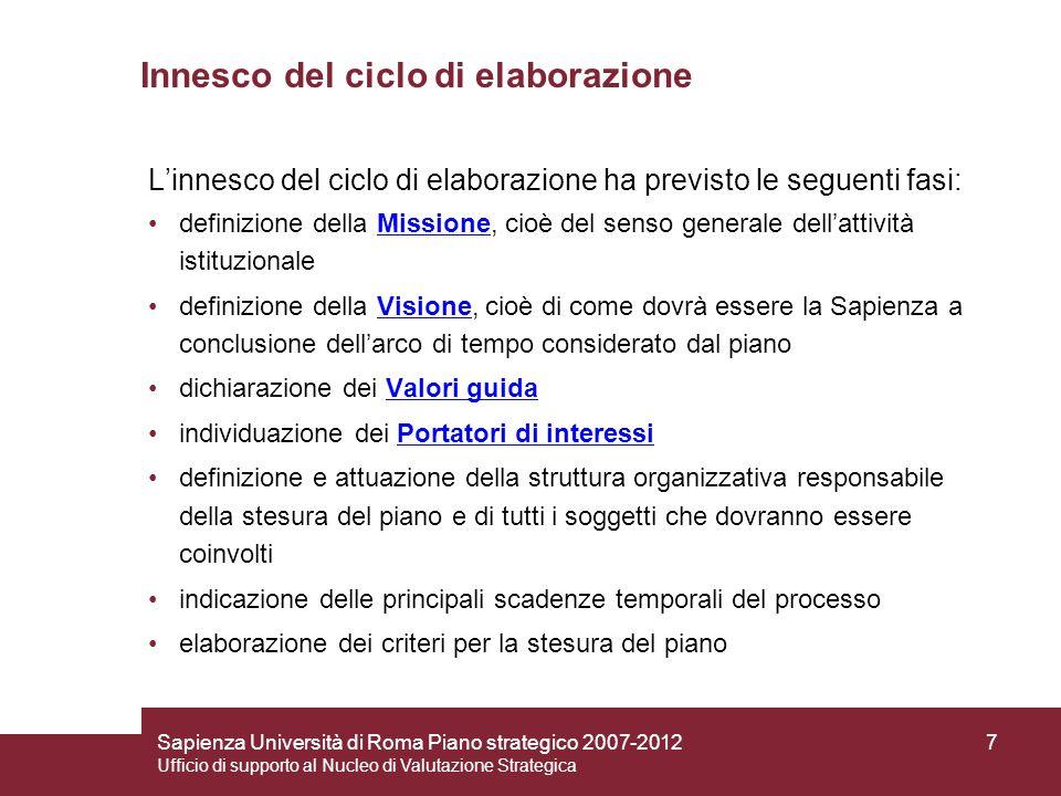Sapienza Università di Roma Piano strategico 2007-2012 Ufficio di supporto al Nucleo di Valutazione Strategica 18 Le macroazioni di strategia interna Governance Gestione manageriale Gestione imprenditoriale e manageriale del funzionamento Ottimizzazione spazi Strutture di accoglienza Innovazione tecnologica Riequilibrio nella distribuzione delle risorse