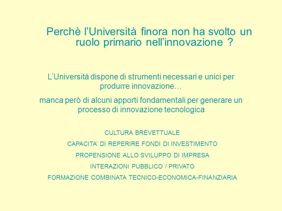 Perchè lUniversità finora non ha svolto un ruolo primario nellinnovazione ? LUniversità dispone di strumenti necessari e unici per produrre innovazion
