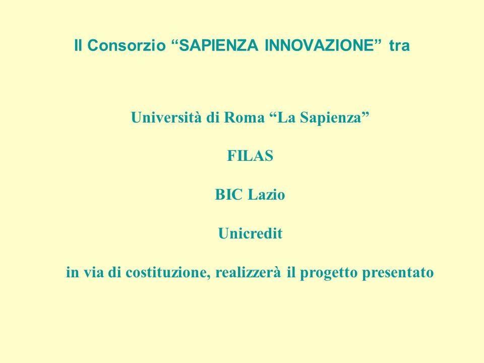 Il Consorzio SAPIENZA INNOVAZIONE tra Università di Roma La Sapienza FILAS BIC Lazio Unicredit in via di costituzione, realizzerà il progetto presenta