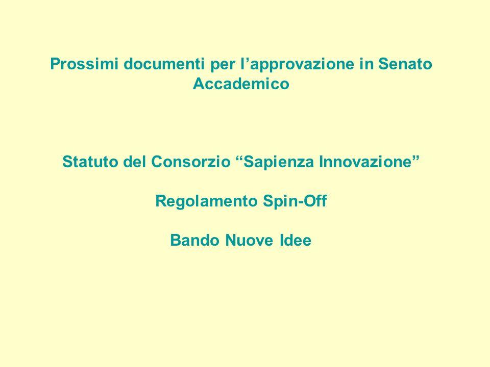 Prossimi documenti per lapprovazione in Senato Accademico Statuto del Consorzio Sapienza Innovazione Regolamento Spin-Off Bando Nuove Idee