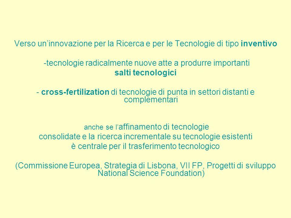 Verso uninnovazione per la Ricerca e per le Tecnologie di tipo inventivo -tecnologie radicalmente nuove atte a produrre importanti salti tecnologici - cross-fertilization di tecnologie di punta in settori distanti e complementari anche se l affinamento di tecnologie consolidate e la ricerca incrementale su tecnologie esistenti è centrale per il trasferimento tecnologico (Commissione Europea, Strategia di Lisbona, VII FP, Progetti di sviluppo National Science Foundation)