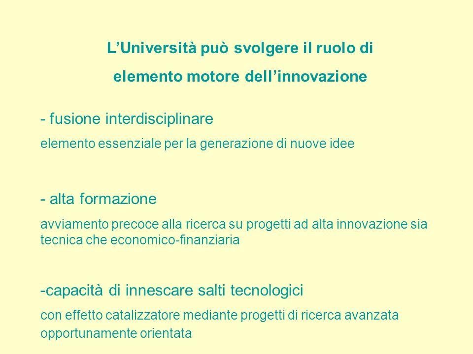 LUniversità può svolgere il ruolo di elemento motore dellinnovazione - fusione interdisciplinare elemento essenziale per la generazione di nuove idee