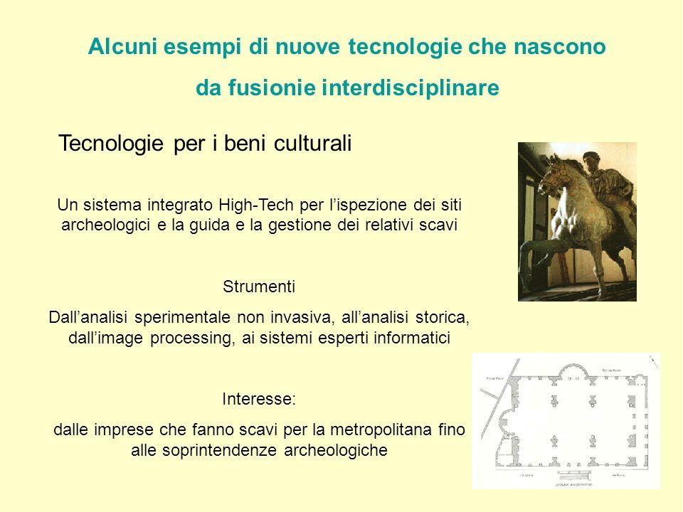 Alcuni esempi di nuove tecnologie che nascono da fusionie interdisciplinare Tecnologie per i beni culturali Un sistema integrato High-Tech per lispezi