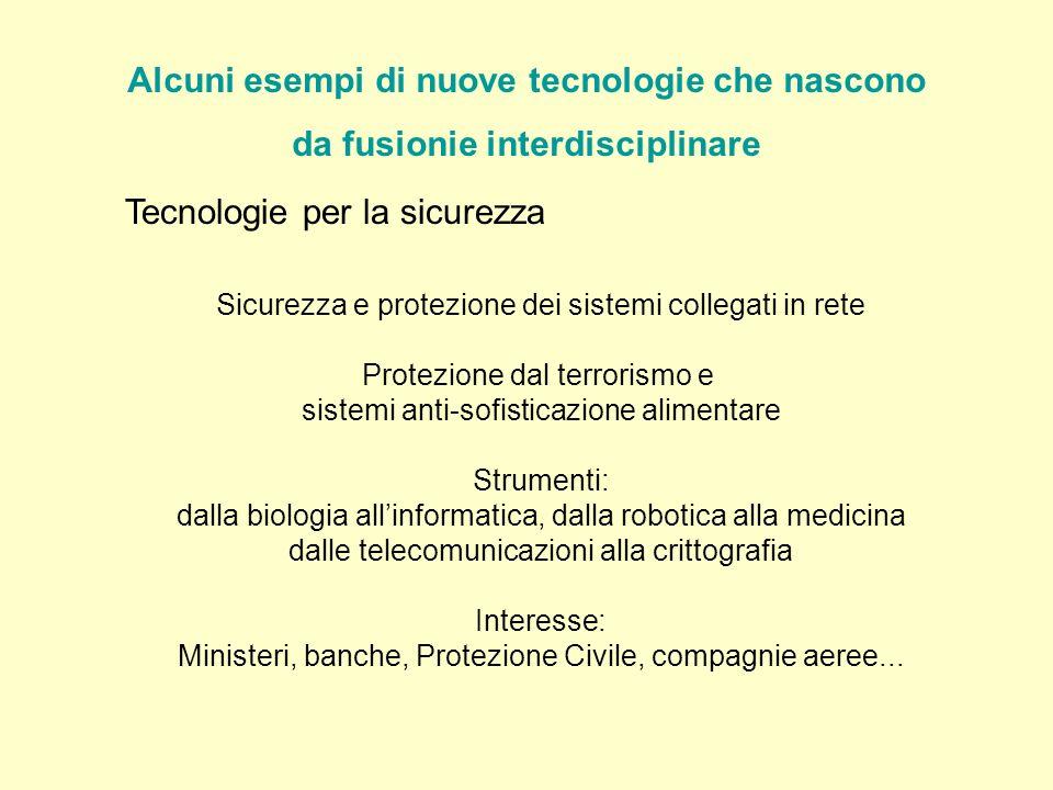 Tecnologie per la sicurezza Sicurezza e protezione dei sistemi collegati in rete Protezione dal terrorismo e sistemi anti-sofisticazione alimentare St