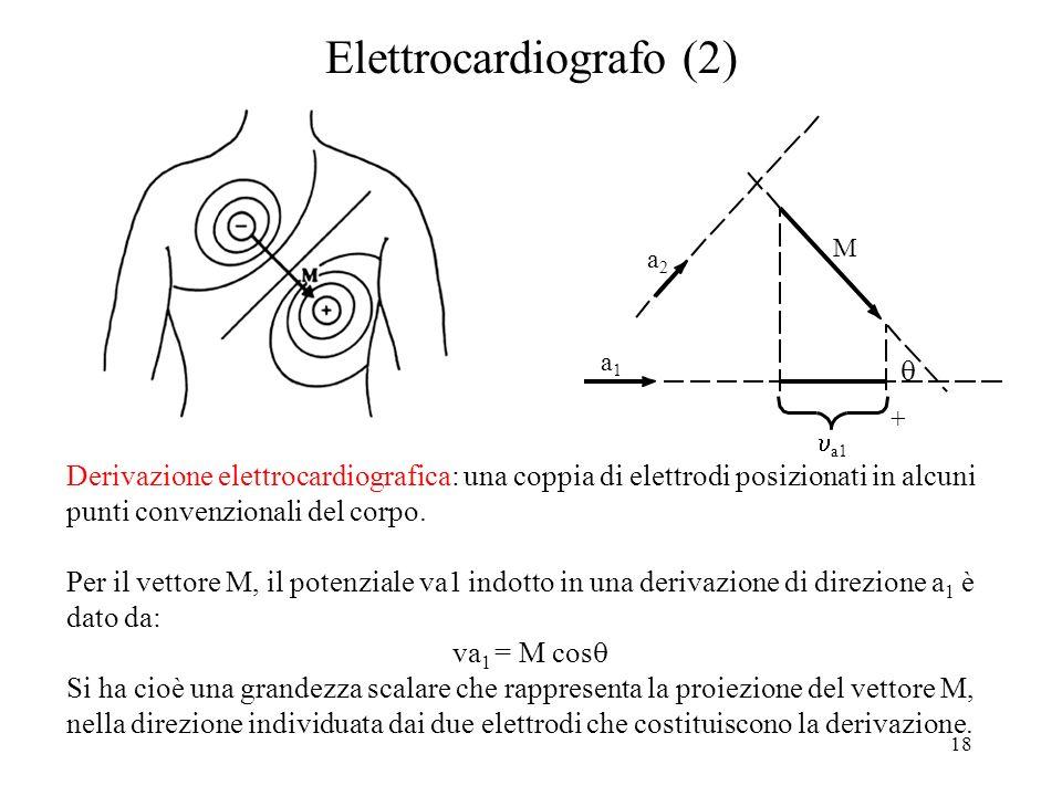 18 Elettrocardiografo (2) Derivazione elettrocardiografica: una coppia di elettrodi posizionati in alcuni punti convenzionali del corpo. Per il vettor