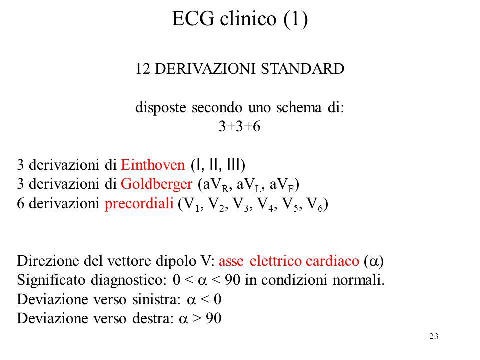 23 ECG clinico (1) 12 DERIVAZIONI STANDARD disposte secondo uno schema di: 3+3+6 3 derivazioni di Einthoven ( I, II, III ) 3 derivazioni di Goldberger