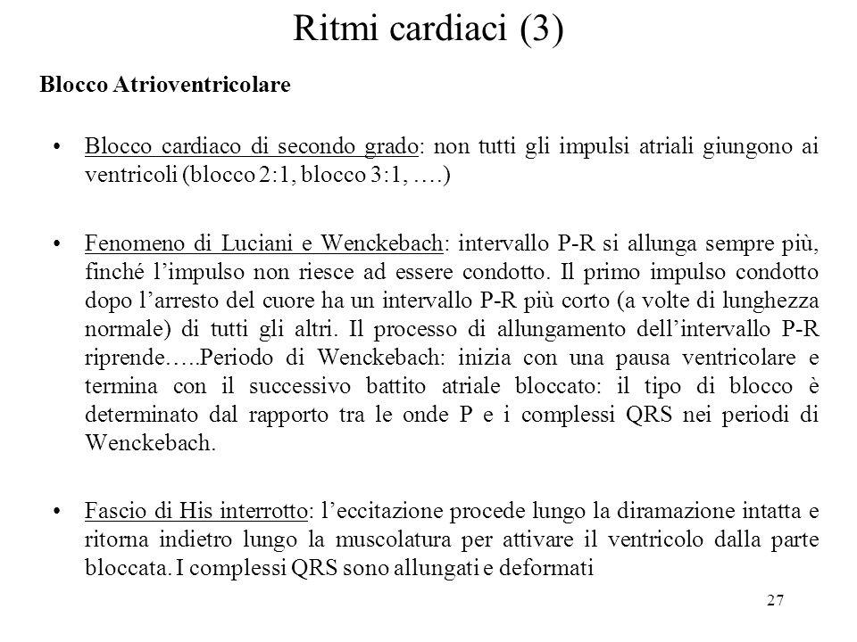 27 Blocco cardiaco di secondo grado: non tutti gli impulsi atriali giungono ai ventricoli (blocco 2:1, blocco 3:1, ….) Fenomeno di Luciani e Wenckebac