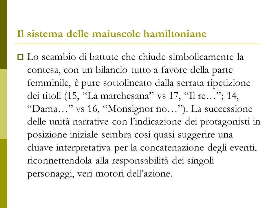 Il sistema delle maiuscole hamiltoniane Nella sua logica precisa questa frammentazione del racconto parrebbe quasi essere stata pensata come guida per la lettura.