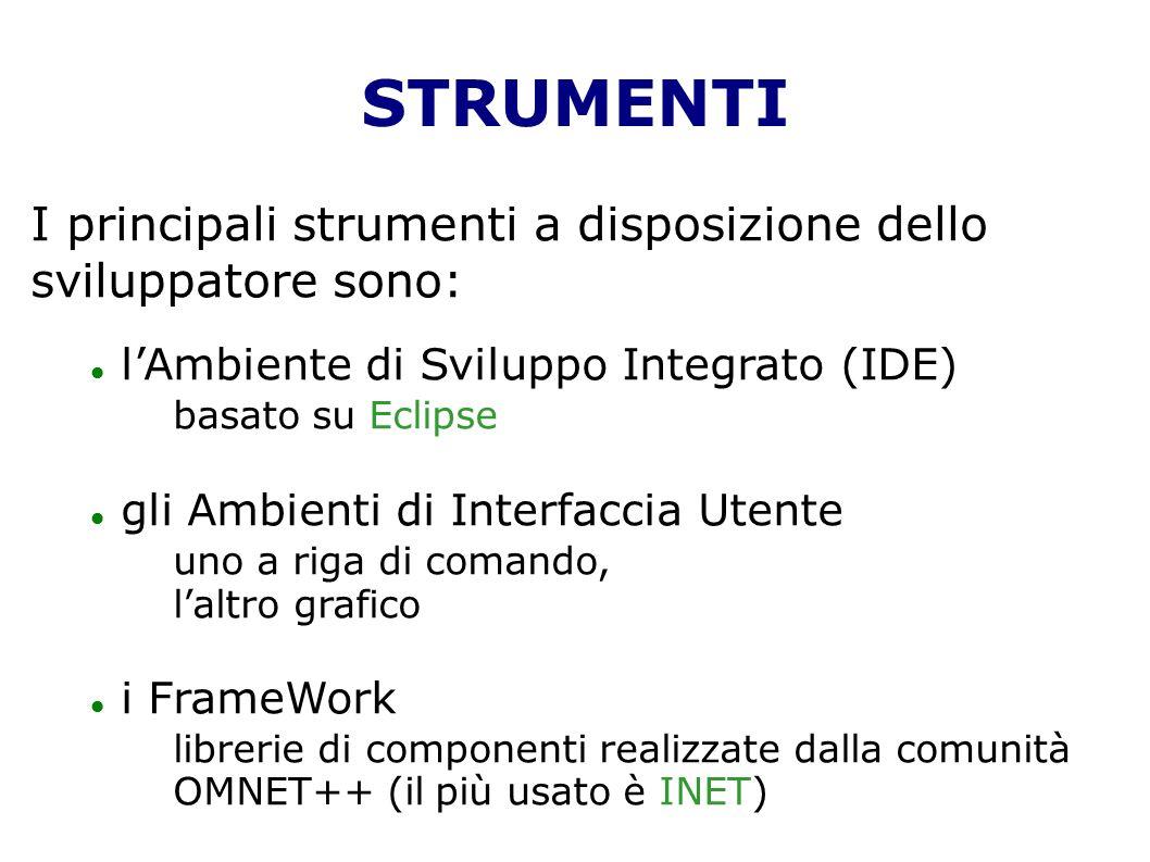 STRUMENTI I principali strumenti a disposizione dello sviluppatore sono: lAmbiente di Sviluppo Integrato (IDE) basato su Eclipse gli Ambienti di Interfaccia Utente uno a riga di comando, laltro grafico i FrameWork librerie di componenti realizzate dalla comunità OMNET++ (il più usato è INET)