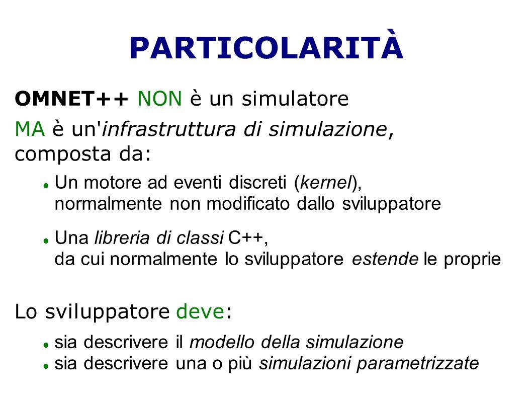 PARTICOLARITÀ OMNET++ NON è un simulatore MA è un'infrastruttura di simulazione, composta da: Un motore ad eventi discreti (kernel), normalmente non m