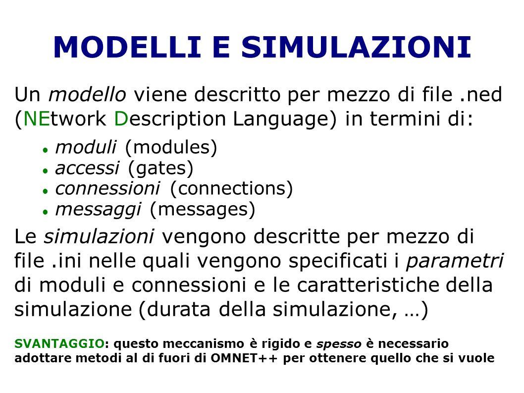 MODELLI E SIMULAZIONI Un modello viene descritto per mezzo di file.ned (NEtwork Description Language) in termini di: moduli (modules) accessi (gates) connessioni (connections) messaggi (messages) Le simulazioni vengono descritte per mezzo di file.ini nelle quali vengono specificati i parametri di moduli e connessioni e le caratteristiche della simulazione (durata della simulazione, …) SVANTAGGIO: questo meccanismo è rigido e spesso è necessario adottare metodi al di fuori di OMNET++ per ottenere quello che si vuole