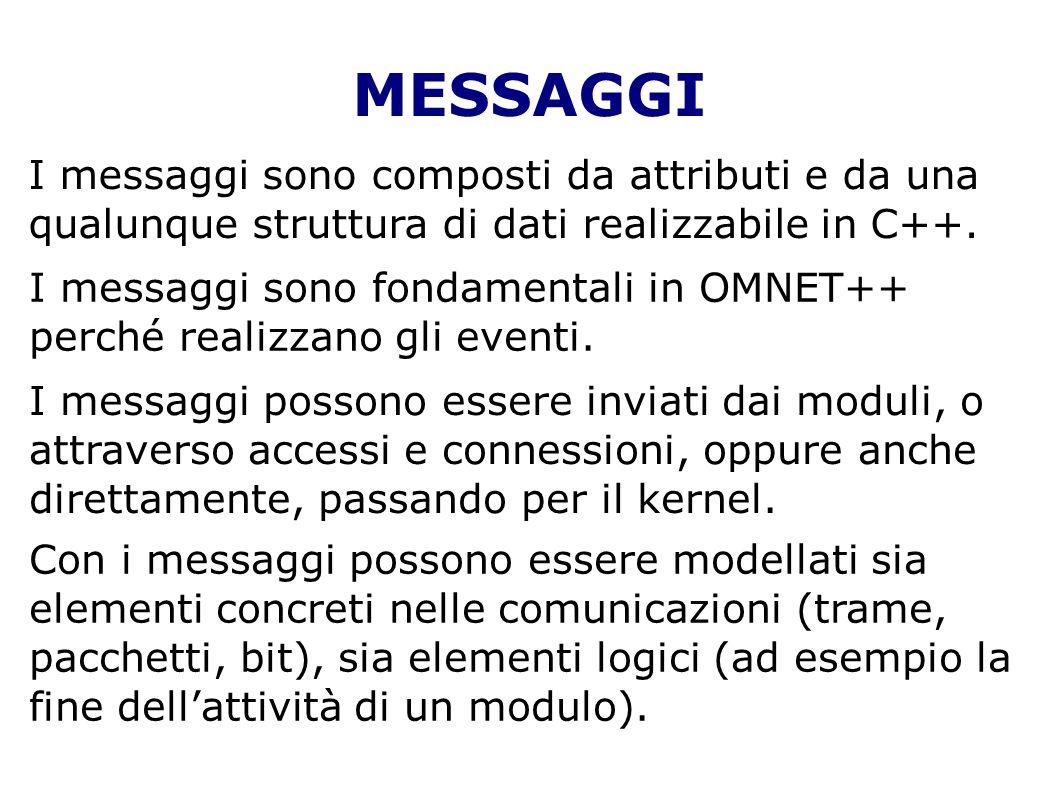 MESSAGGI I messaggi sono composti da attributi e da una qualunque struttura di dati realizzabile in C++. I messaggi sono fondamentali in OMNET++ perch