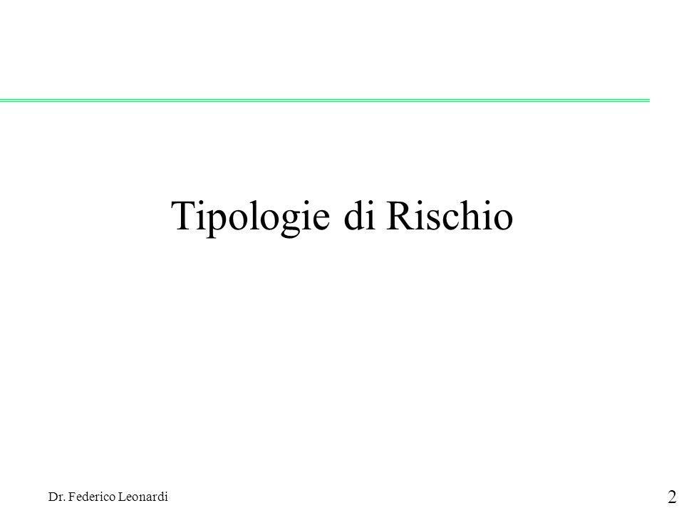 Dr. Federico Leonardi 2 Tipologie di Rischio