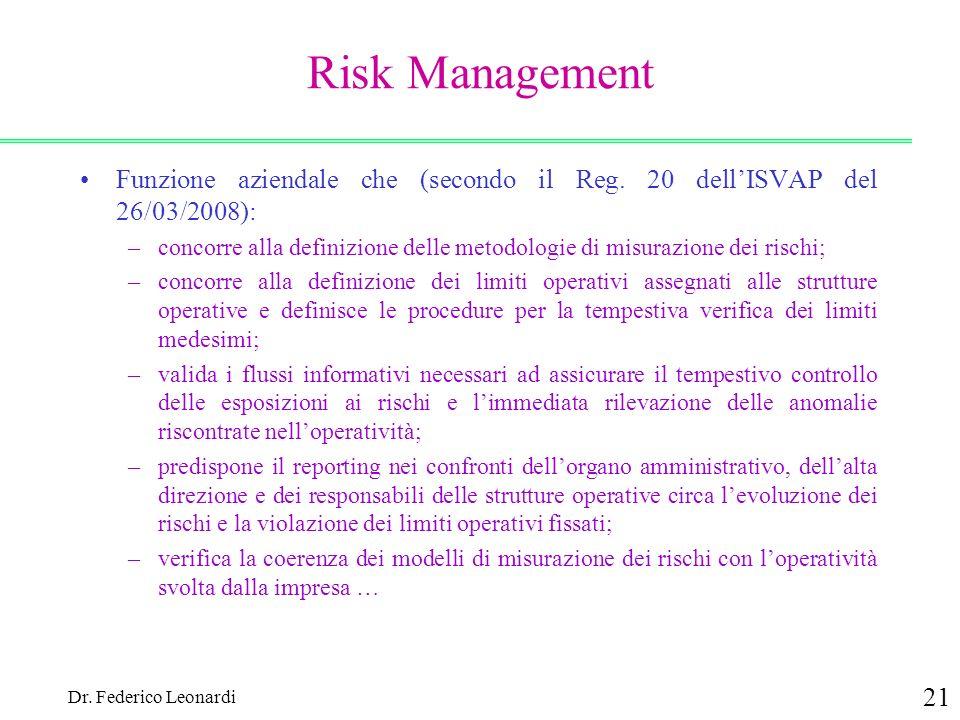 Dr. Federico Leonardi 21 Risk Management Funzione aziendale che (secondo il Reg. 20 dellISVAP del 26/03/2008): –concorre alla definizione delle metodo