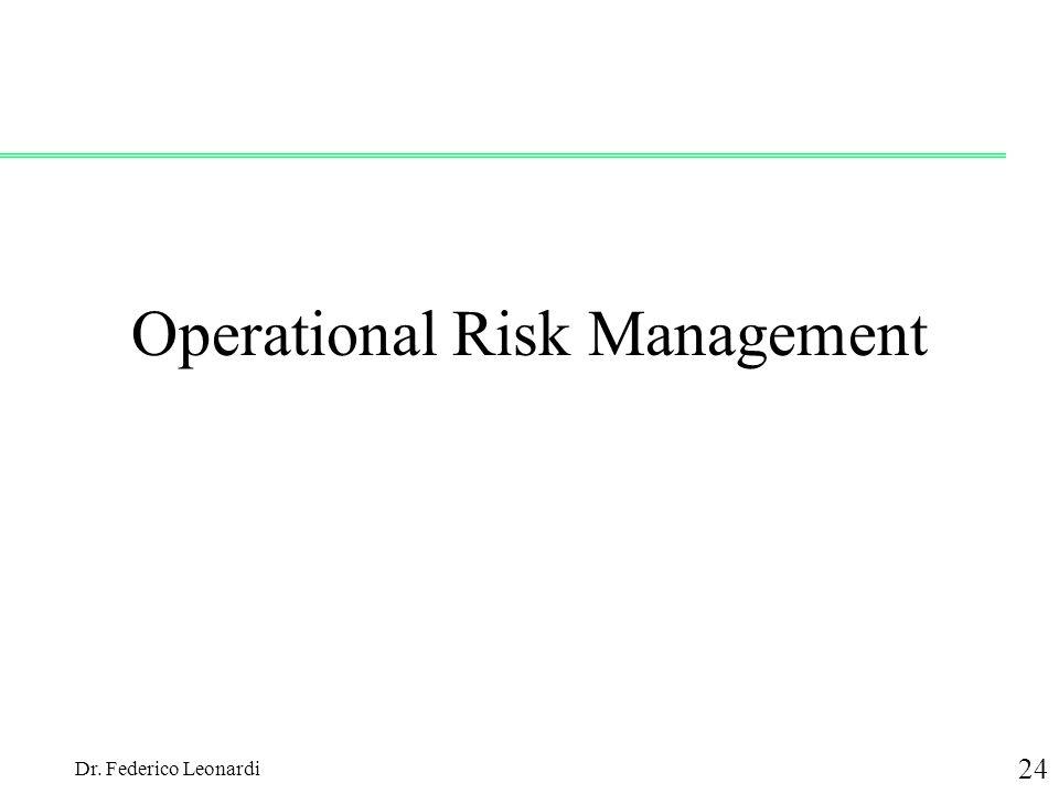 Dr. Federico Leonardi 24 Operational Risk Management