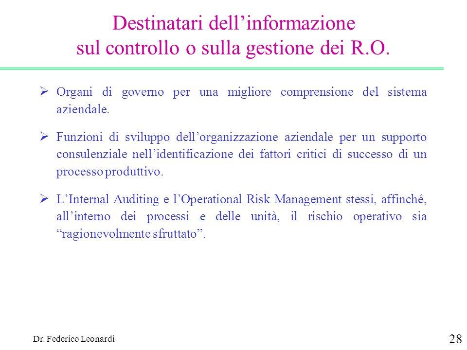Dr. Federico Leonardi 28 Destinatari dellinformazione sul controllo o sulla gestione dei R.O. Organi di governo per una migliore comprensione del sist