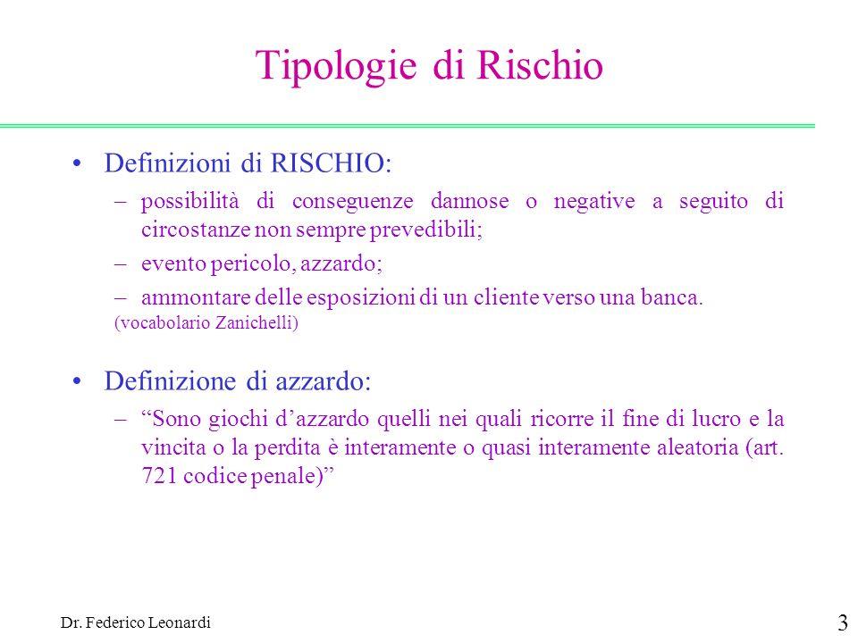 Dr. Federico Leonardi 3 Tipologie di Rischio Definizioni di RISCHIO: –possibilità di conseguenze dannose o negative a seguito di circostanze non sempr