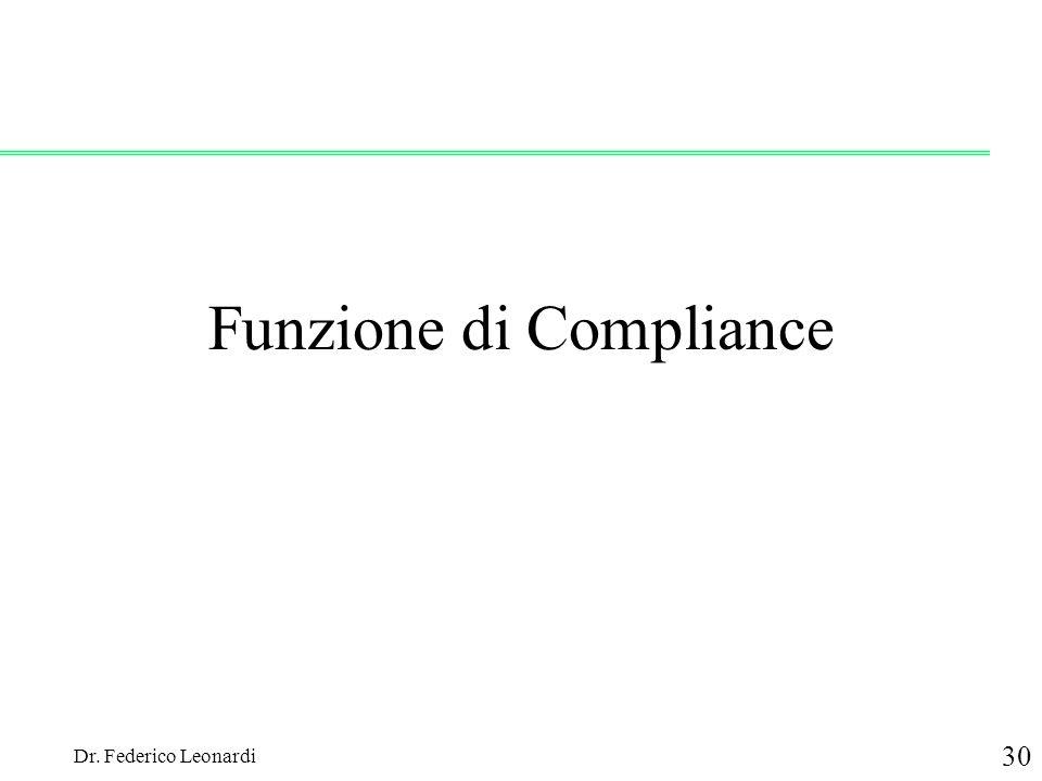 Dr. Federico Leonardi 30 Funzione di Compliance