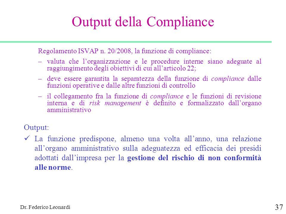 Dr. Federico Leonardi 37 Output della Compliance Regolamento ISVAP n. 20/2008, la funzione di compliance: –valuta che lorganizzazione e le procedure i