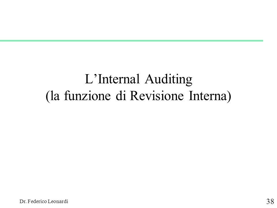Dr. Federico Leonardi 38 LInternal Auditing (la funzione di Revisione Interna)