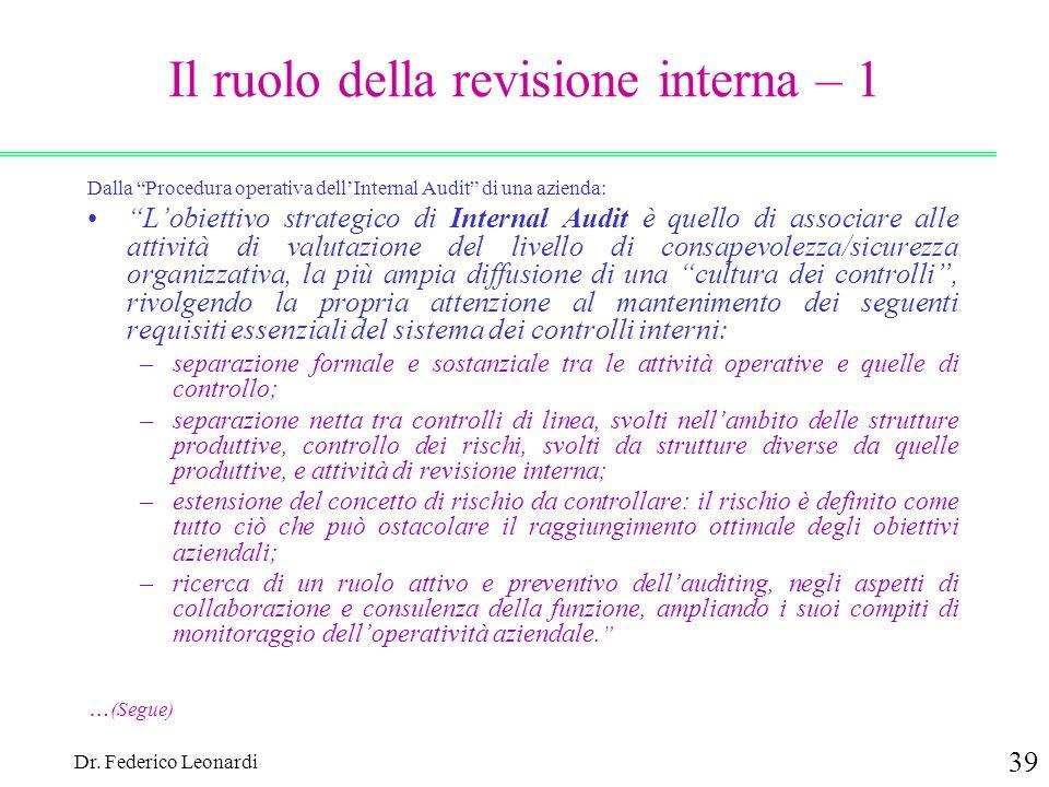 Dr. Federico Leonardi 39 Il ruolo della revisione interna – 1 Dalla Procedura operativa dellInternal Audit di una azienda: Lobiettivo strategico di In