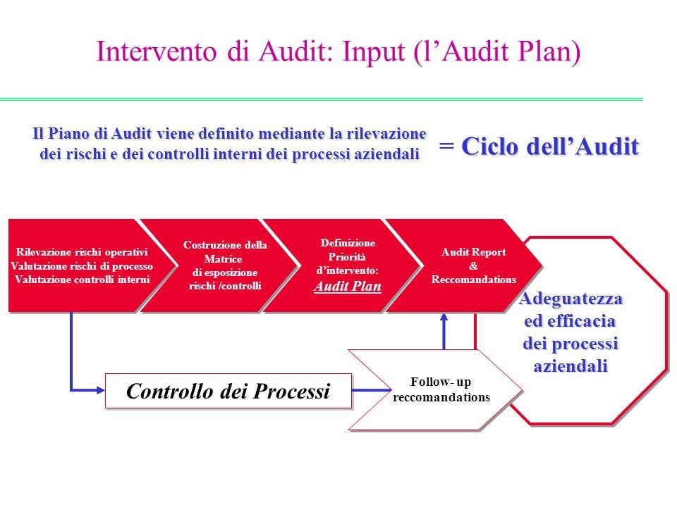 Il Piano di Audit viene definito mediante la rilevazione dei rischi e dei controlli interni dei processi aziendali Rilevazione rischi operativi Valuta