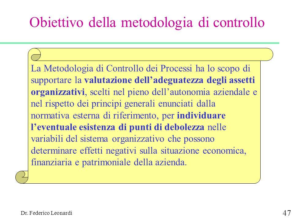 Dr. Federico Leonardi 47 Obiettivo della metodologia di controllo La Metodologia di Controllo dei Processi ha lo scopo di supportare la valutazione de
