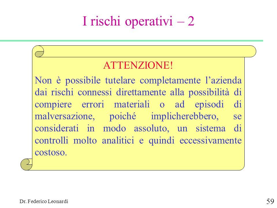 Dr. Federico Leonardi 59 ATTENZIONE! Non è possibile tutelare completamente lazienda dai rischi connessi direttamente alla possibilità di compiere err