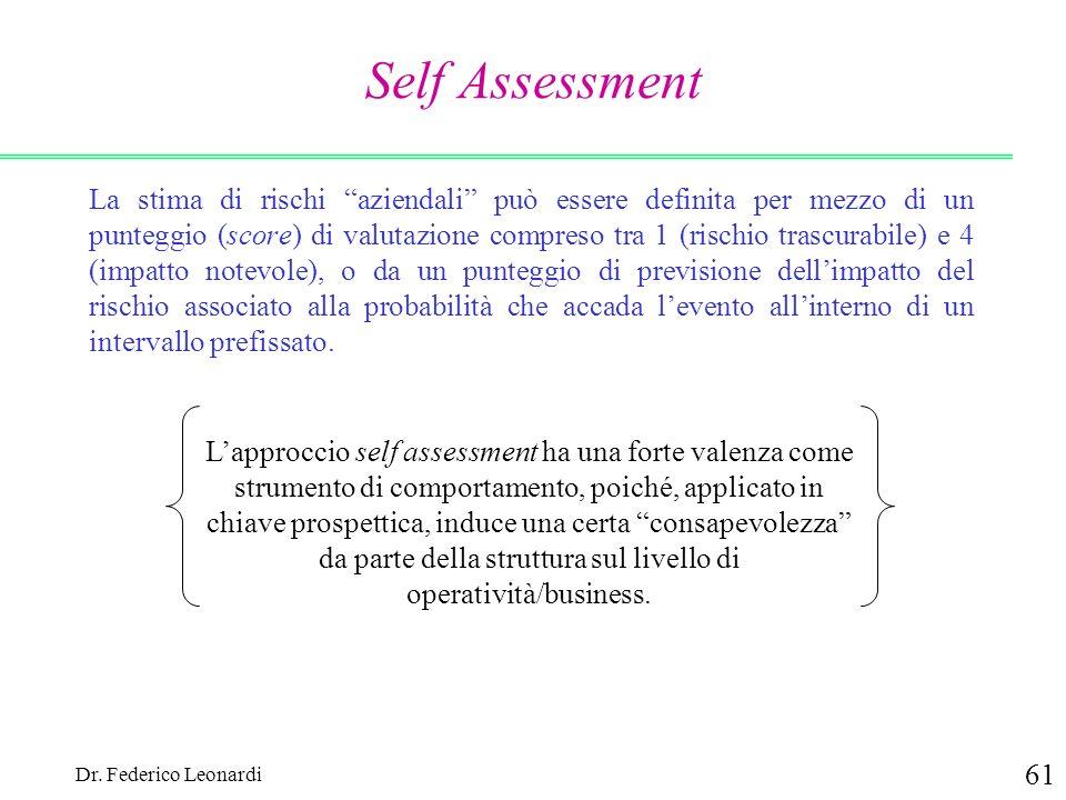 Dr. Federico Leonardi 61 Self Assessment La stima di rischi aziendali può essere definita per mezzo di un punteggio (score) di valutazione compreso tr