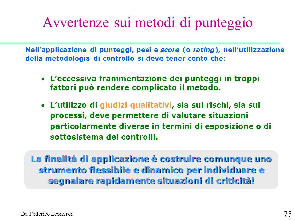 Dr. Federico Leonardi 75 Avvertenze sui metodi di punteggio Nellapplicazione di punteggi, pesi e score (o rating), nellutilizzazione della metodologia