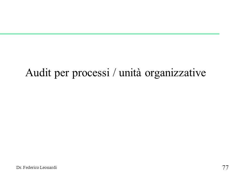 Dr. Federico Leonardi 77 Audit per processi / unità organizzative