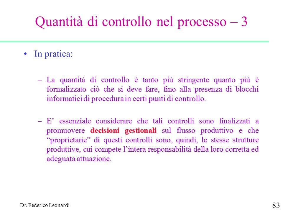 Dr. Federico Leonardi 83 Quantità di controllo nel processo – 3 In pratica: –La quantità di controllo è tanto più stringente quanto più è formalizzato
