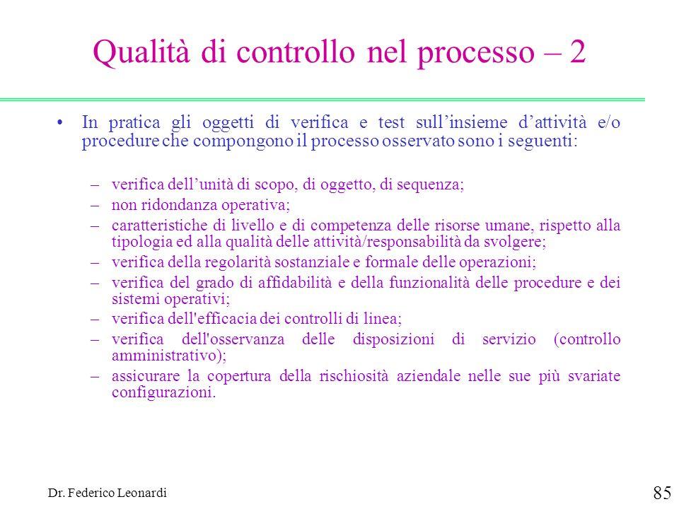 Dr. Federico Leonardi 85 Qualità di controllo nel processo – 2 In pratica gli oggetti di verifica e test sullinsieme dattività e/o procedure che compo