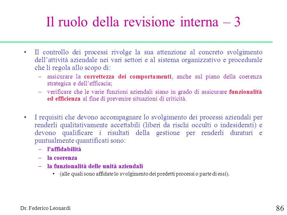 Dr. Federico Leonardi 86 Il ruolo della revisione interna – 3 Il controllo dei processi rivolge la sua attenzione al concreto svolgimento dellattività