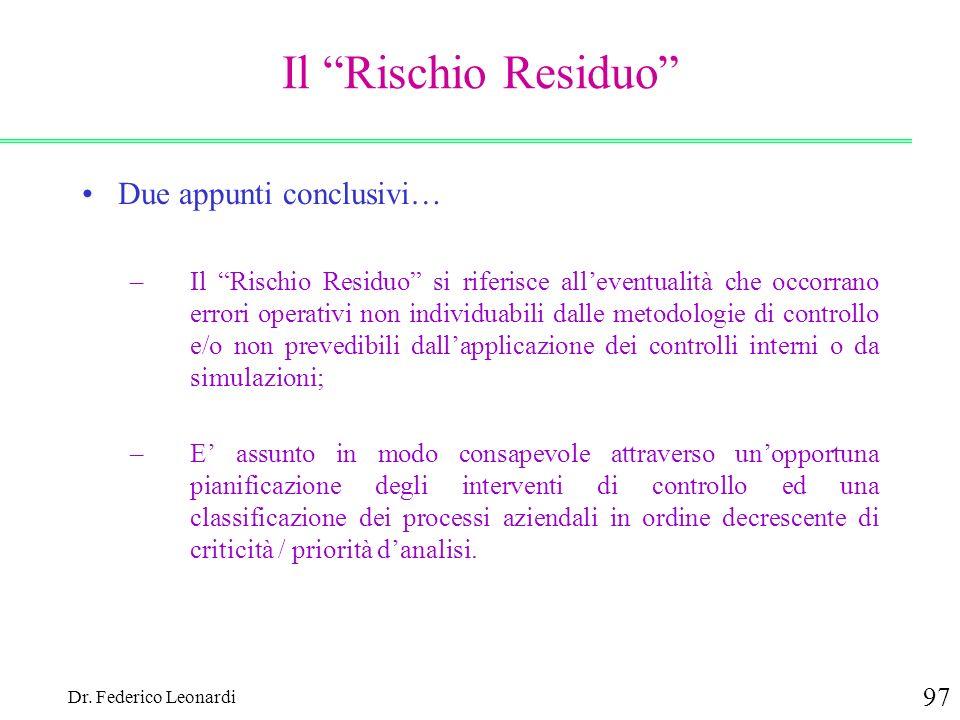 Dr. Federico Leonardi 97 Il Rischio Residuo Due appunti conclusivi… –Il Rischio Residuo si riferisce alleventualità che occorrano errori operativi non