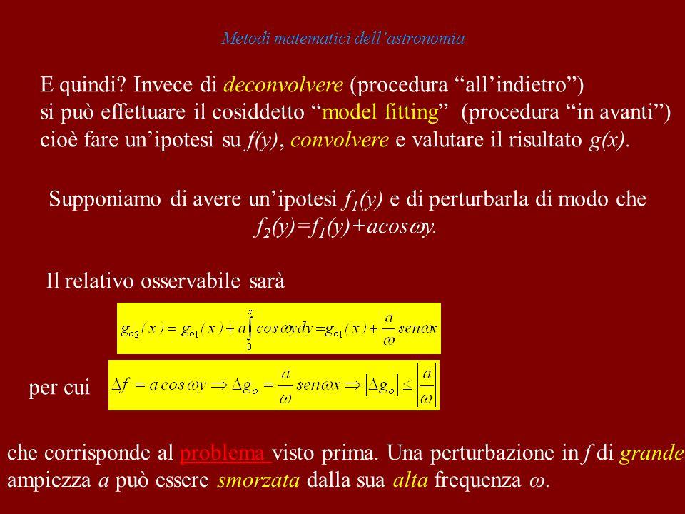 Metodi matematici dellastronomia E quindi? Invece di deconvolvere (procedura allindietro) si può effettuare il cosiddetto model fitting (procedura in