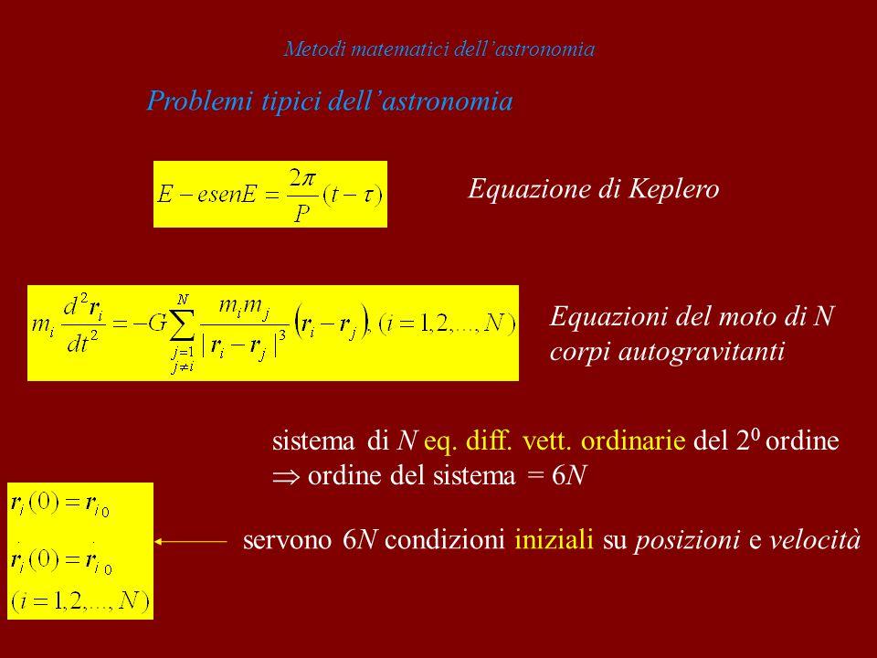Metodi matematici dellastronomia Problemi tipici dellastronomia Equazione di Keplero Equazioni del moto di N corpi autogravitanti sistema di N eq. dif