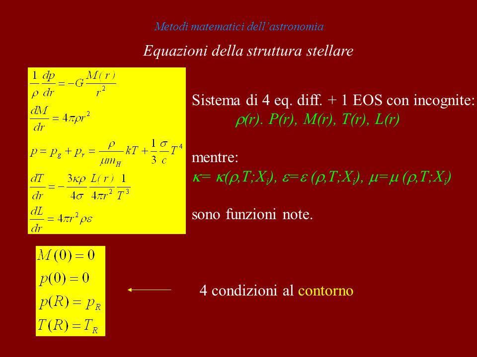 Metodi matematici dellastronomia Sistema di 4 eq. diff. + 1 EOS con incognite: (r). P(r), M(r), T(r), L(r) mentre: = (,T;X i ), = (,T;X i ), = (,T;X i