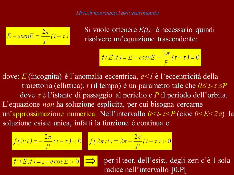 Metodi matematici dellastronomia Si vuole ottenere E(t); è necessario quindi risolvere unequazione trascendente: dove: E (incognita) è lanomalia eccen