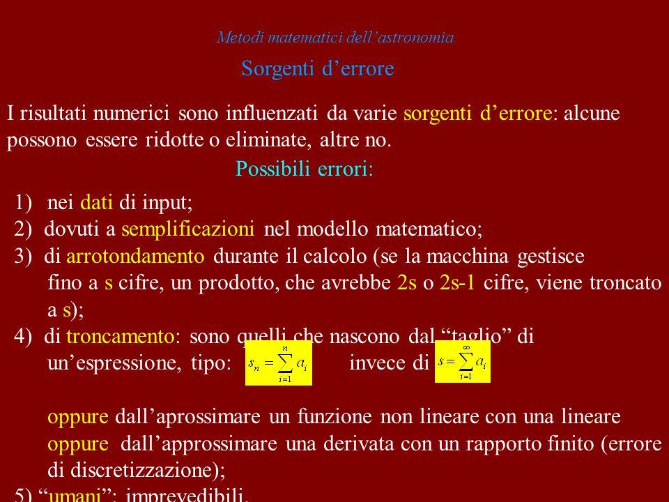 Metodi matematici dellastronomia Sorgenti derrore I risultati numerici sono influenzati da varie sorgenti derrore: alcune possono essere ridotte o eli