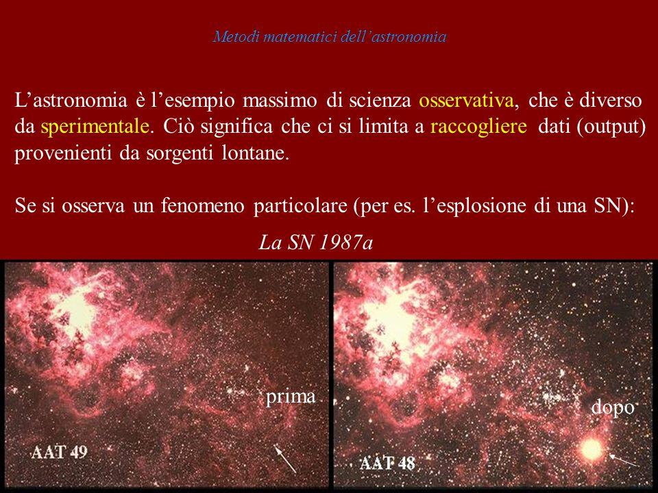 Metodi matematici dellastronomia Lastronomia è lesempio massimo di scienza osservativa, che è diverso da sperimentale. Ciò significa che ci si limita