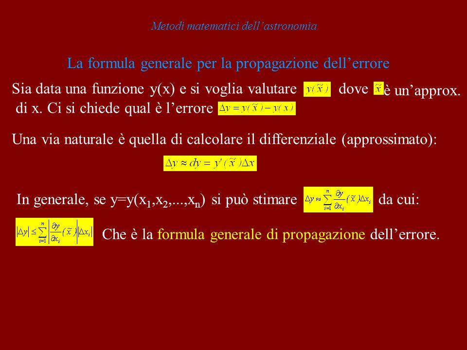 Metodi matematici dellastronomia La formula generale per la propagazione dellerrore Sia data una funzione y(x) e si voglia valutaredove è unapprox. di