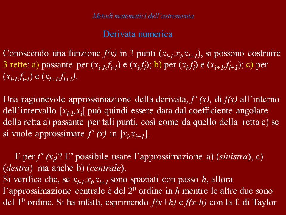 Metodi matematici dellastronomia Derivata numerica Conoscendo una funzione f(x) in 3 punti (x i-1,x i,x i+1 ), si possono costruire 3 rette: a) passan