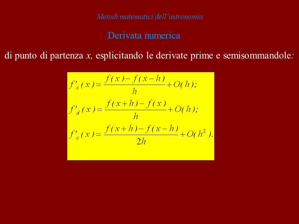 Metodi matematici dellastronomia Derivata numerica di punto di partenza x, esplicitando le derivate prime e semisommandole: